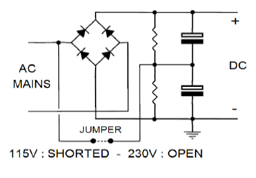 Example circuit scheme showing how input extended range can be supported in a resonant converter.